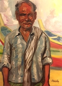 Smiling Fisherman | Kentucky Artist Jill Smith